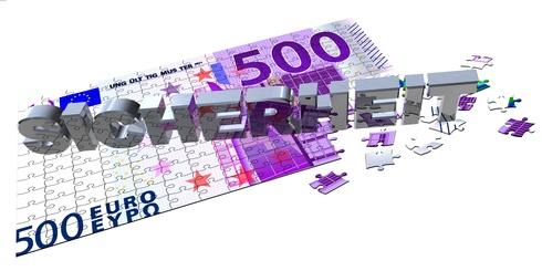 Ein 500 Euro Schein als Puzzle, das sich an einer Ecke auflöst