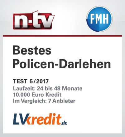 Das Testsiegel von N-TV und FMH für das beste Policendarlehen